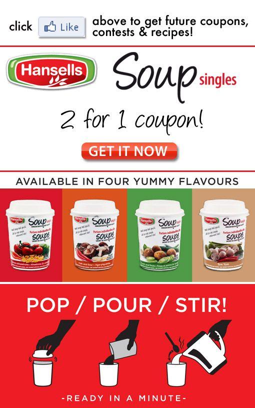 Hansells Soup Canada Printable Coupon Bogo Free Hansells Soup Grocery Coupons Canada Grocery Coupons Printable Coupons