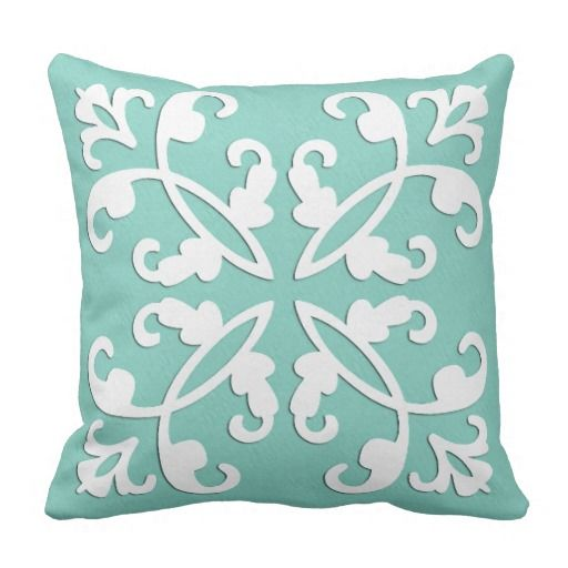 Lacy Cutwork White Over Seafoam Green Throw Pillow Zazzle Com