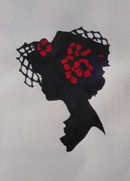 "Silhouettes - ""Hannah"" - Acrylic painting by Lorraine Skala - prints and notecards available at lorriskala@aol.com"