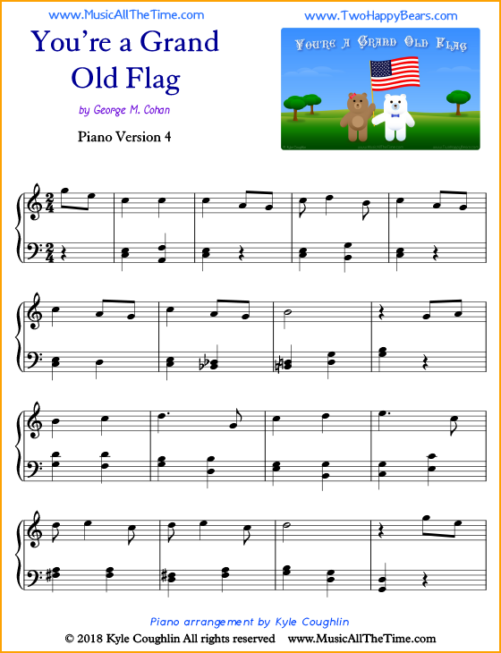 You Re A Grand Old Flag Intermediate Sheet Music For Piano Free Printable Pdf Pianomusic Pianosheetmusic Patriot Piano Sheet Music Sheet Music Piano Sheet