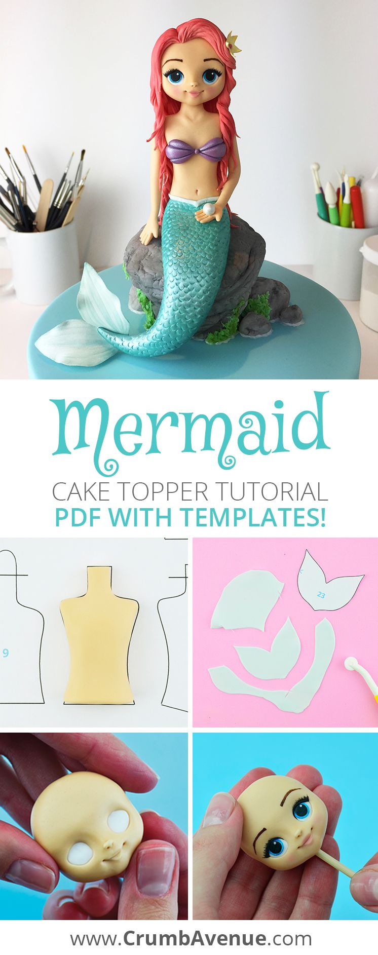 Mermaid Cake Topper Pdf Tutorial With Templates Etsy Mermaid Cake Topper Mermaid Cakes Fondant Girl