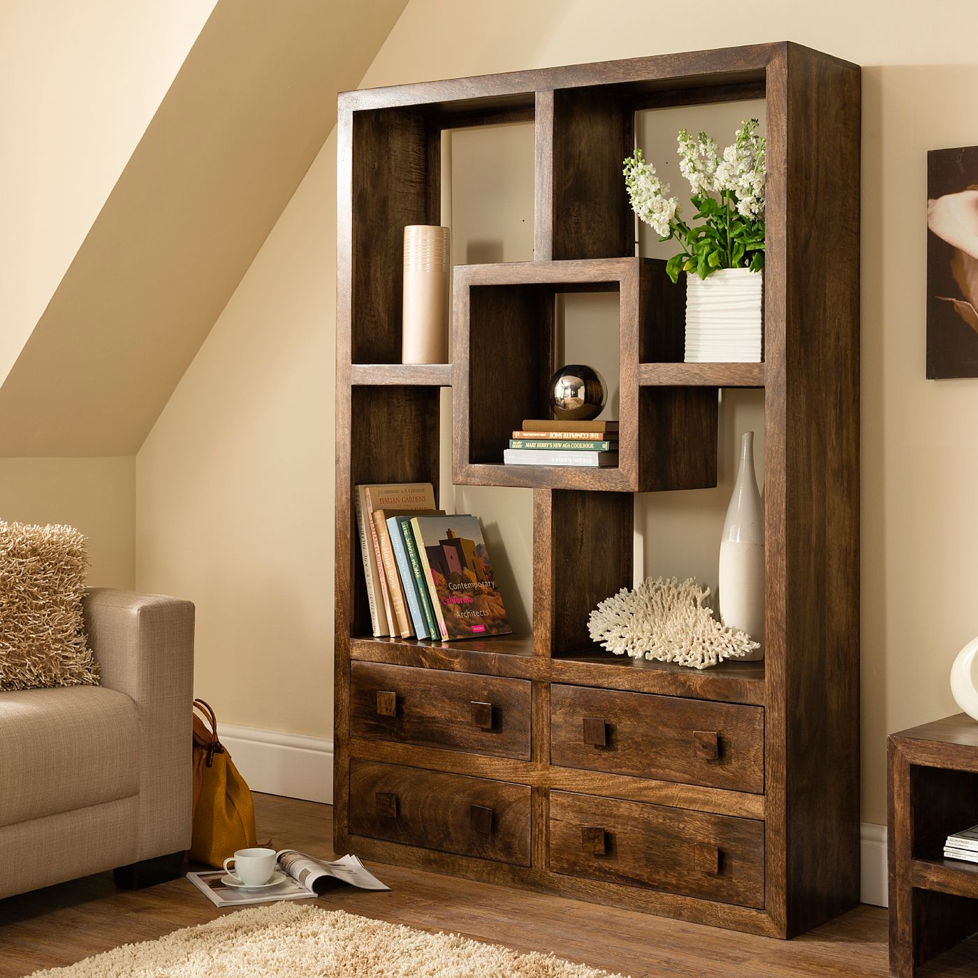 kochi bookcase with drawers shelving units asda direct