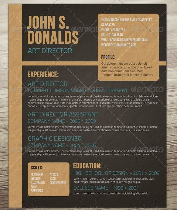 Awesome Resume\/CV Templates Graphic Design 56pixels - paper for resume