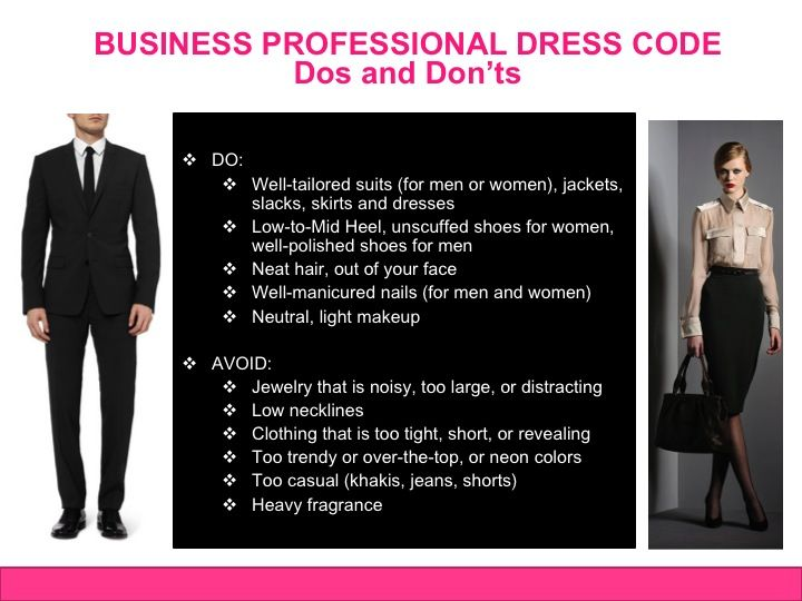 Business professional dress code dos and donts business