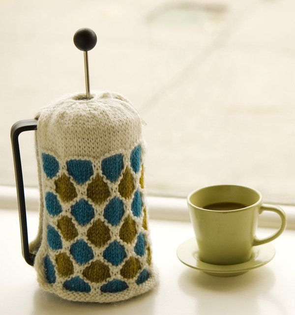 Free Knitting Pattern - Cozies: Windowpane French Press Cozy ...
