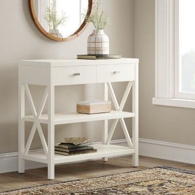 Owings Console Table With 2 Shelves And Drawers Off White Threshold In 2020 White Console Table White Entryway Table Small Entryway Table