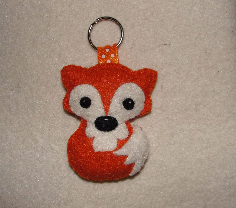Wool Felt Fox Keychain, Fox Keychain, Keyring, Key Holder, Gift Bag, Decor, Ornament, Felt Animal by NitaFelt on Etsy