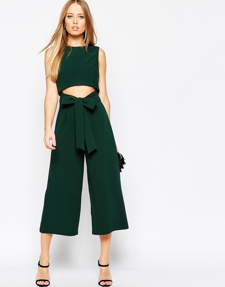 Explore Mommy Fashion, New Fashion, and more! Image 1 of ASOS Culotte  Jumpsuit with Cut Out Front