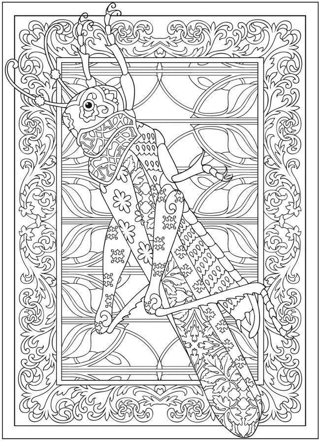 adult coloring page from the creative haven incredible insect designs coloring book grasshopper provided by the great publisher dover publications - Design Coloring Books