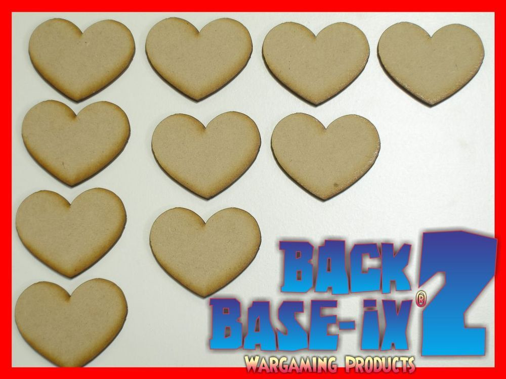 MDF Heart Wooden Shapes 5cm 50mm High 3mm Thick Custom Cut x 10 pieces 033