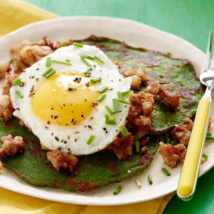 St  Patrick's Day Spinach Pancakes and Corned Beef Hash