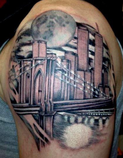 Brooklyn bridge nyc skyline tattoo by alecia tattoos nyc for Brooklyn tattoo ideas