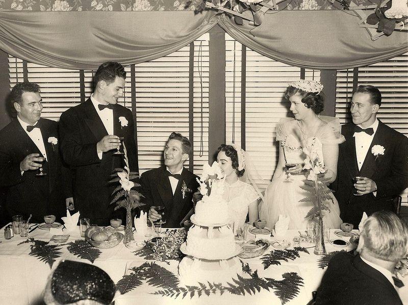 1950s Wedding Decor Couple Cake And Toasts