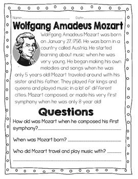 Studying Composers: All About Mozart | Worksheets, Teaching music ...