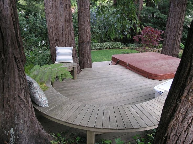 Deck Among The Trees With Builtin Seating