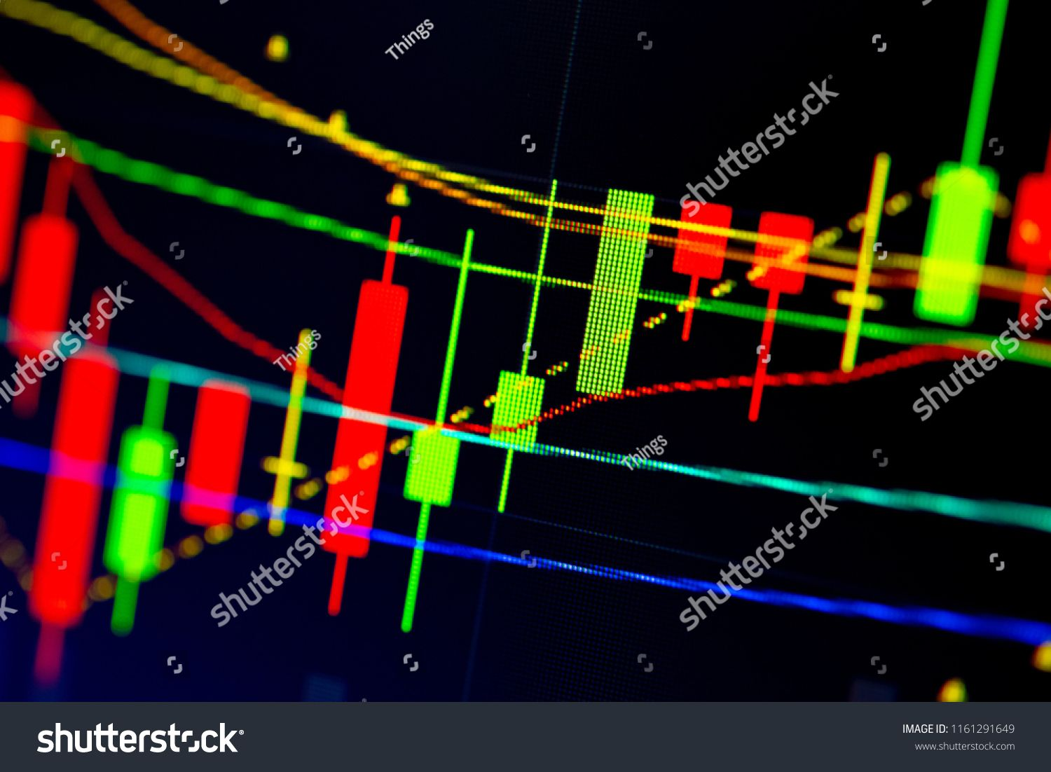 Stock Market Data On Digital Led Display A Daily Market Price And Quotation Of Prices Chart And Candle Sti Stock Market Data Price Chart Infographic Templates