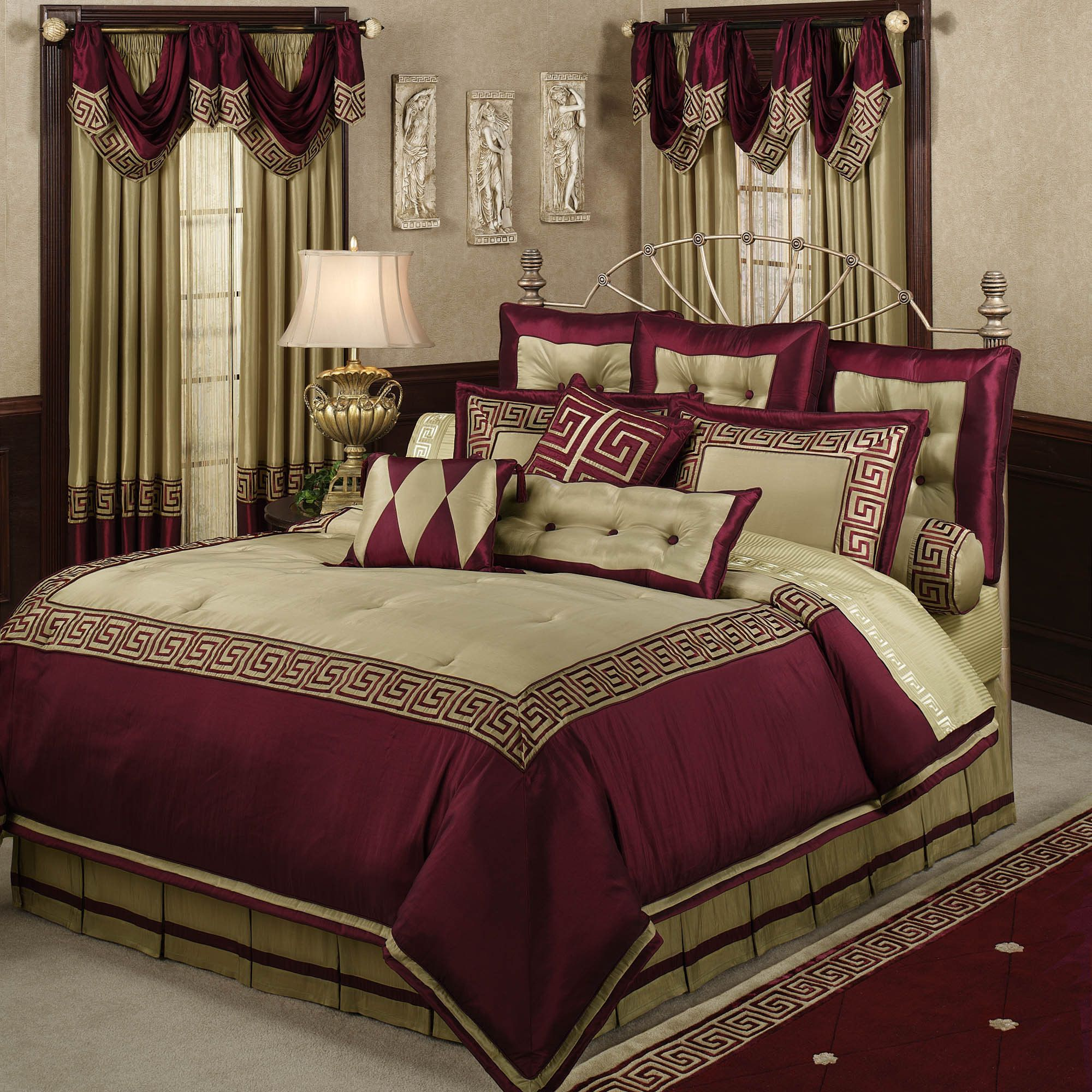 Home Apollo Comforter Set Wine Almond Bedroom Decor Ideas