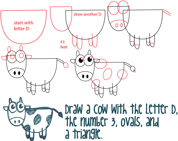 Big Guide To Drawing Cartoon Cows With Basic Shapes For