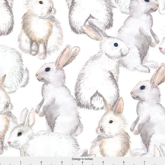 Hares Bunnies Colour Fabric Material 140cm Cotton Poly Mix