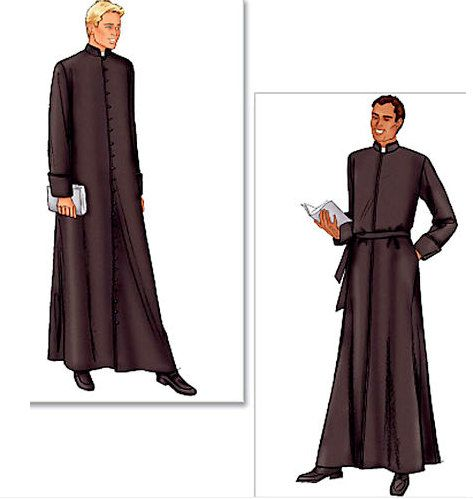 Gothic Costume Sewing Pattern - CLERGY ROBE Cassock -Church Choir Robes