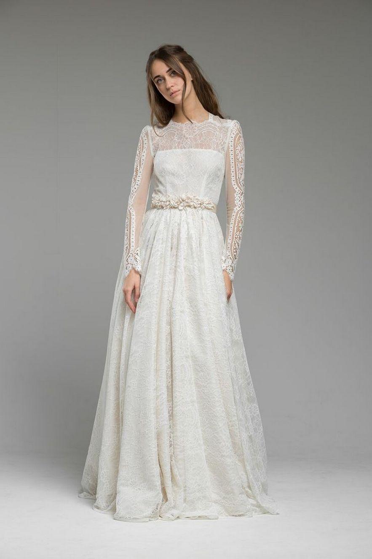 Nice high low long sleeve modern wedding dresses ideas vestidos