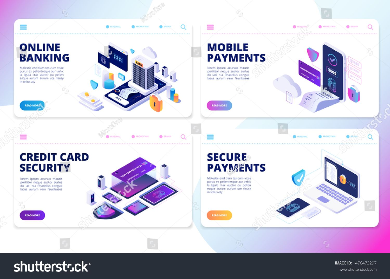 Online Banking Landing Page Mobile Payments Credit Card Security Vector Banners Mobile Finance Transfer T Online Banking Mobile Payments Secure Credit Card