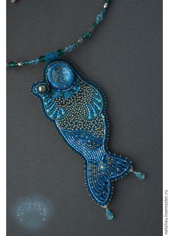"""Купить Кулон """"Волшебный дар"""" - морская волна, русалка, вышивка, жемчужина, сказка, хранительница, бисер"""