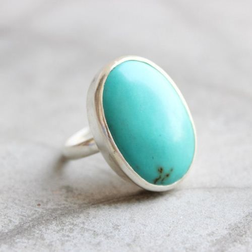 Real Turquoise Silver Ring Oval Solitaire 925 hallmark