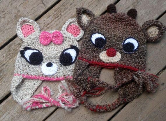 Girl Amp Boy Reindeer Hat Patterns Crochet Patterns
