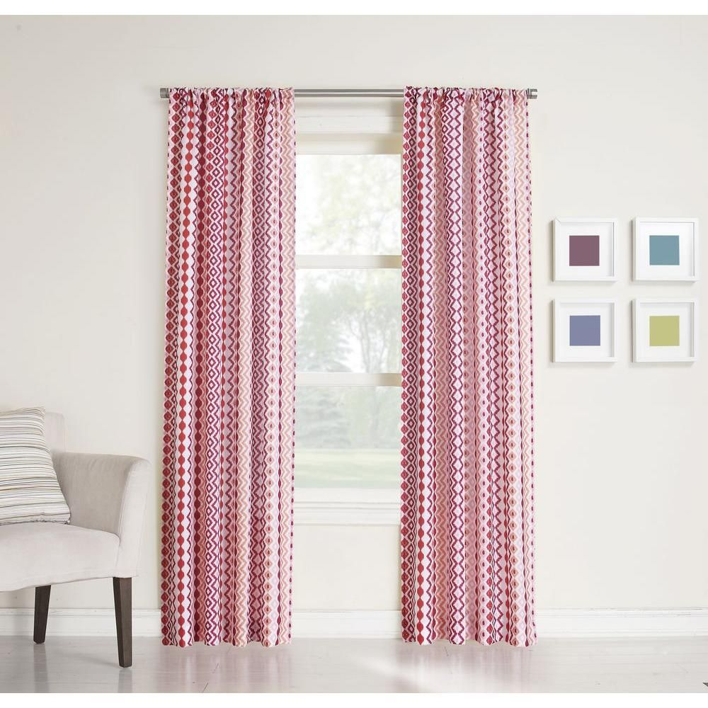 LICHTENBERG Sheer Berry (Pink) No. 918 Millennial Molly Heathered Print Curtain Panel, 40 in. W x 95 in. L