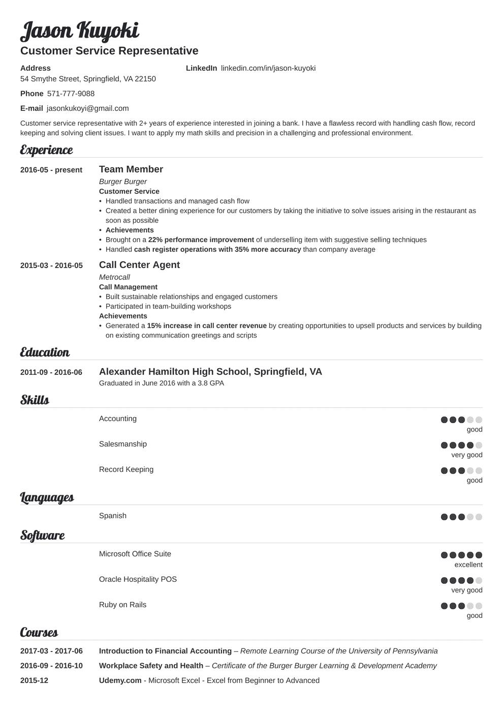 Bank Teller Resume Examples & Job Description (+No