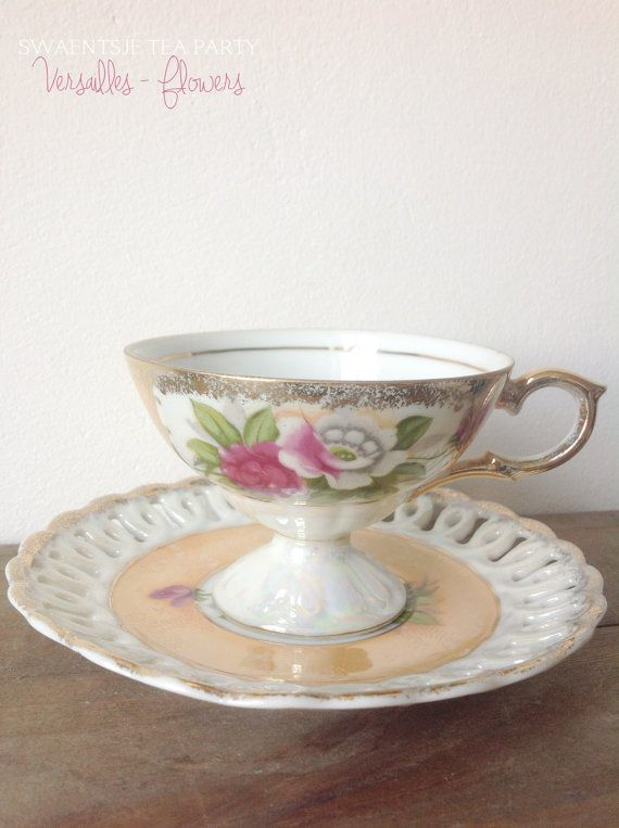 Antique Tea Cup and Saucer - 'Versailles Flowers'