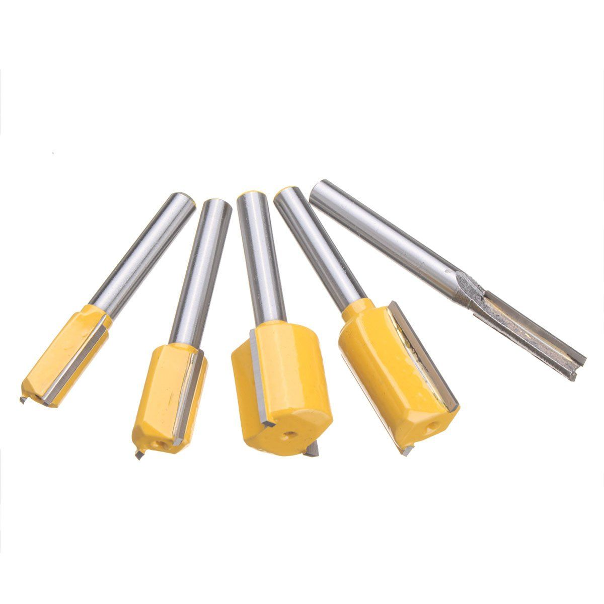 Pukido 5pcs 1 4 Inch Shank Straight And Dado Router Bit Set Trimming 22mm Printed Circuit Board Cutter Pcb Cnc Carbide Cutting For