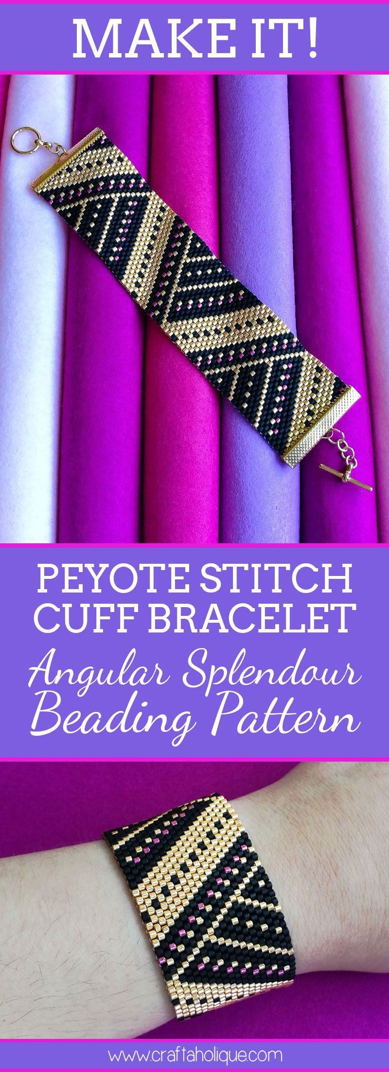 Beautiful peyote stitch cuff bracelet pattern in black gold u pink