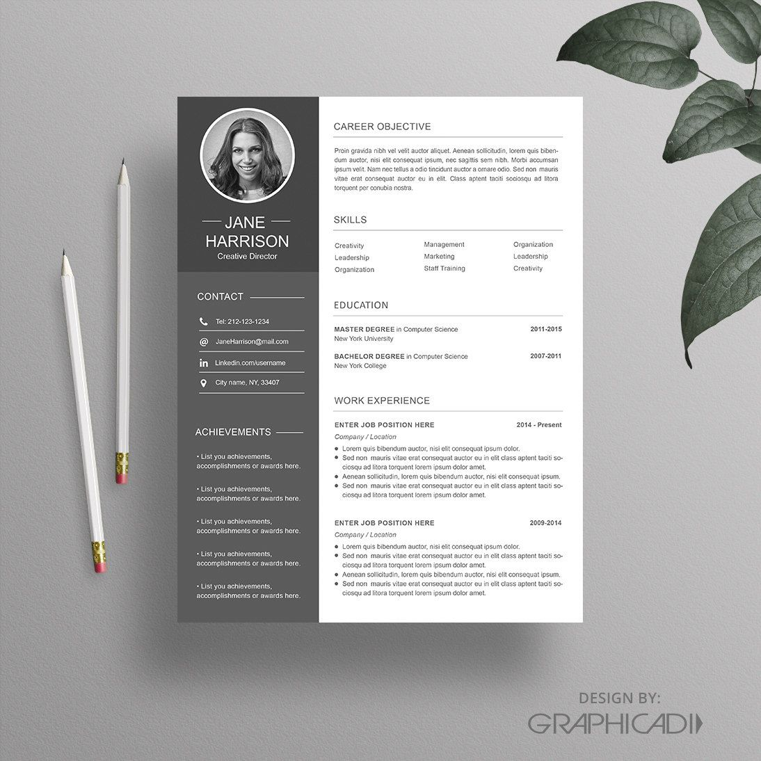 Resume template with cover letter and reference page for