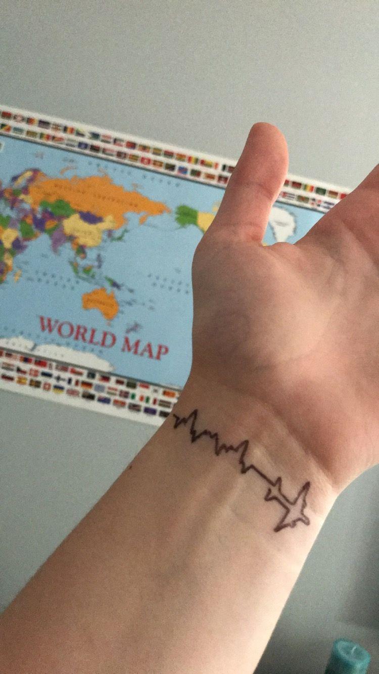 Travel Tattoo Heartbeat With Plane Plane Tattoo Travel