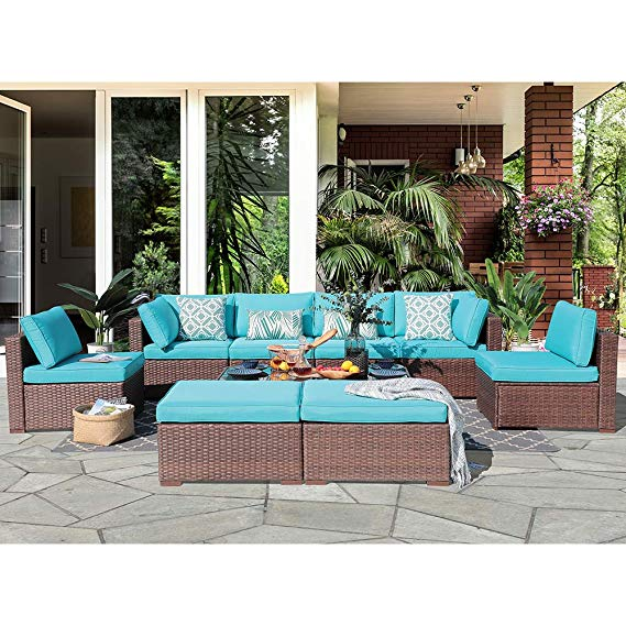 Amazon Com Oc Orange Casual 10 Piece Outdoor Furniture Sectional Sofa Set Rattan Wicker Patio Conversation Set With Seat And Back Cus Porch Columns In 2019 Garden Sofa Porch Columns Sofa Set