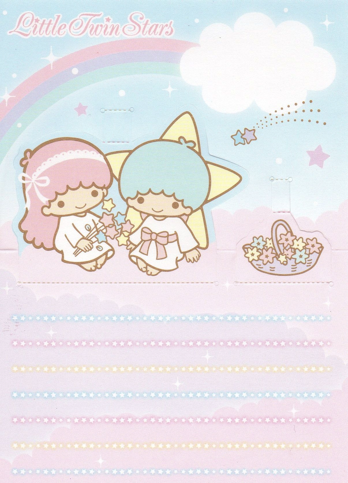 JAPAN SANRIO KITTY MELODY TWIN STARS MEMO STICKERS W// CLIP