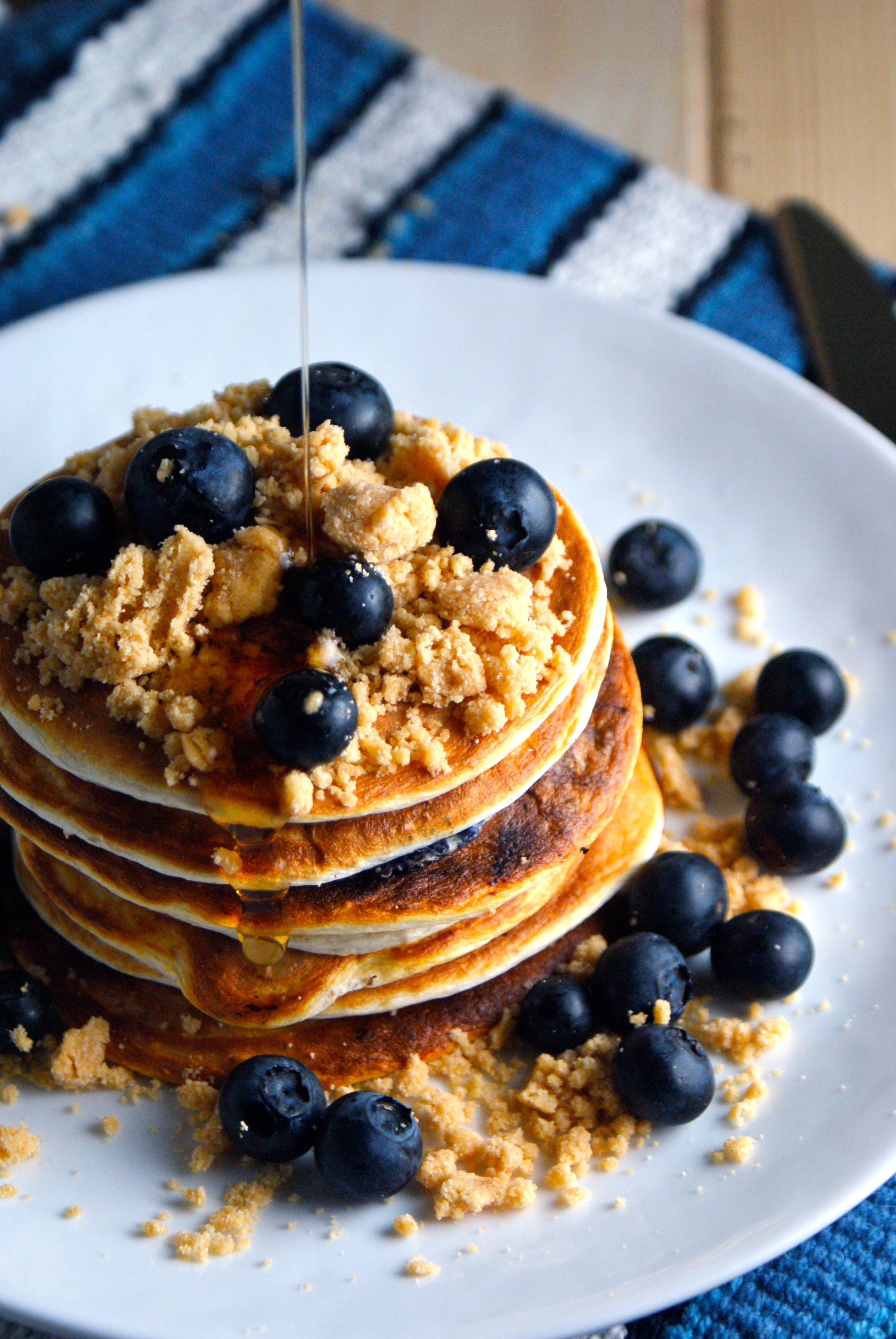 Blueberry crumb muffin protein pancakes protein pancakes