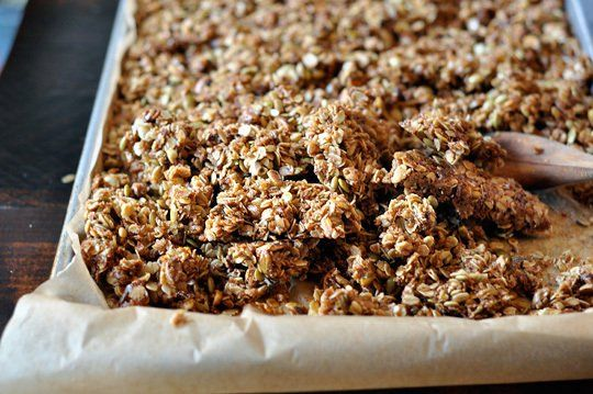 How to make chunky granola clusters. let sit flat to cool, then break