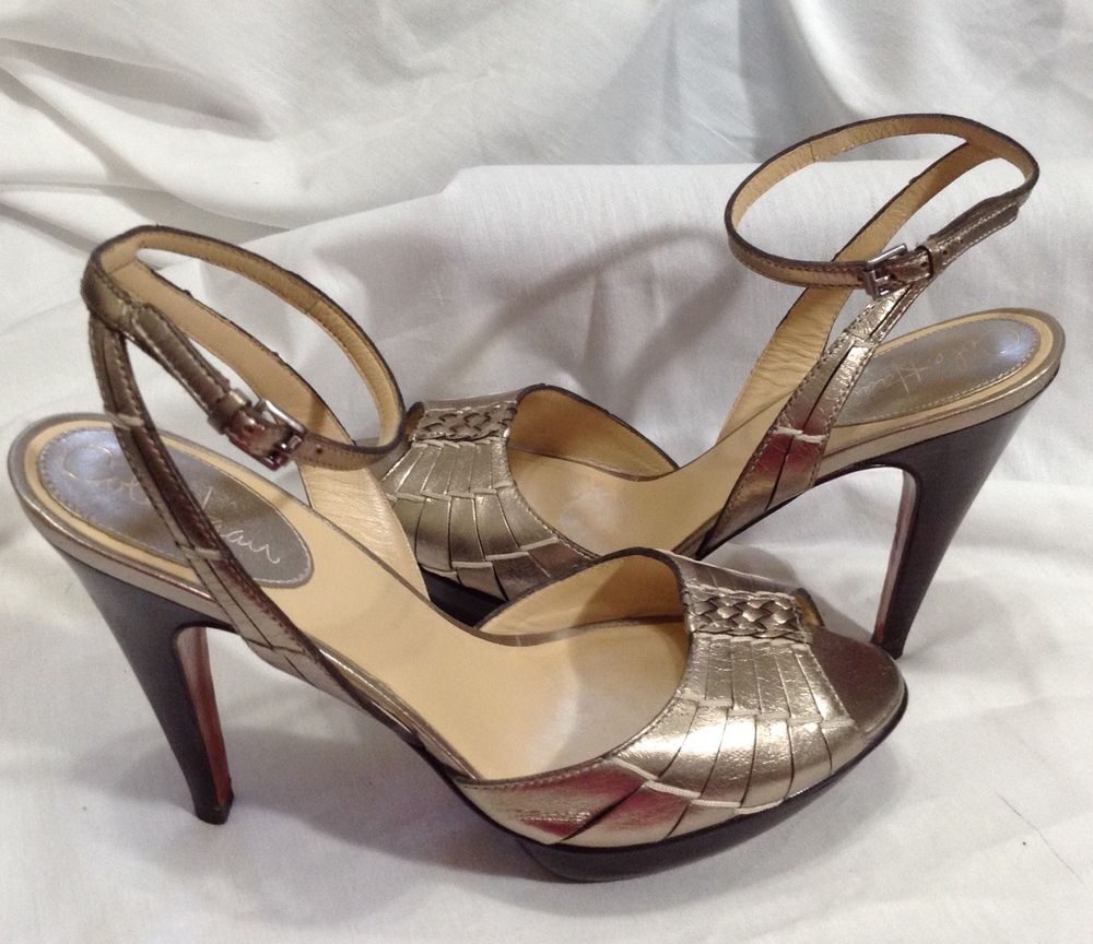 97f46bef54b94 Cole Haan Nike Air 8 M B Gold Platform Open Toe Ankle Strap Heels ...