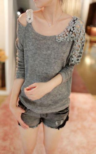 Korean Women Long Sleeve Floral Crochet Knit Splicing Casual Tops Sweater Jumper   eBay
