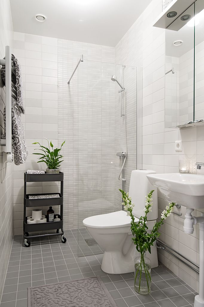 Nice small bathroom, looks spacious & up to date- could do something similar but with a bath tub - white