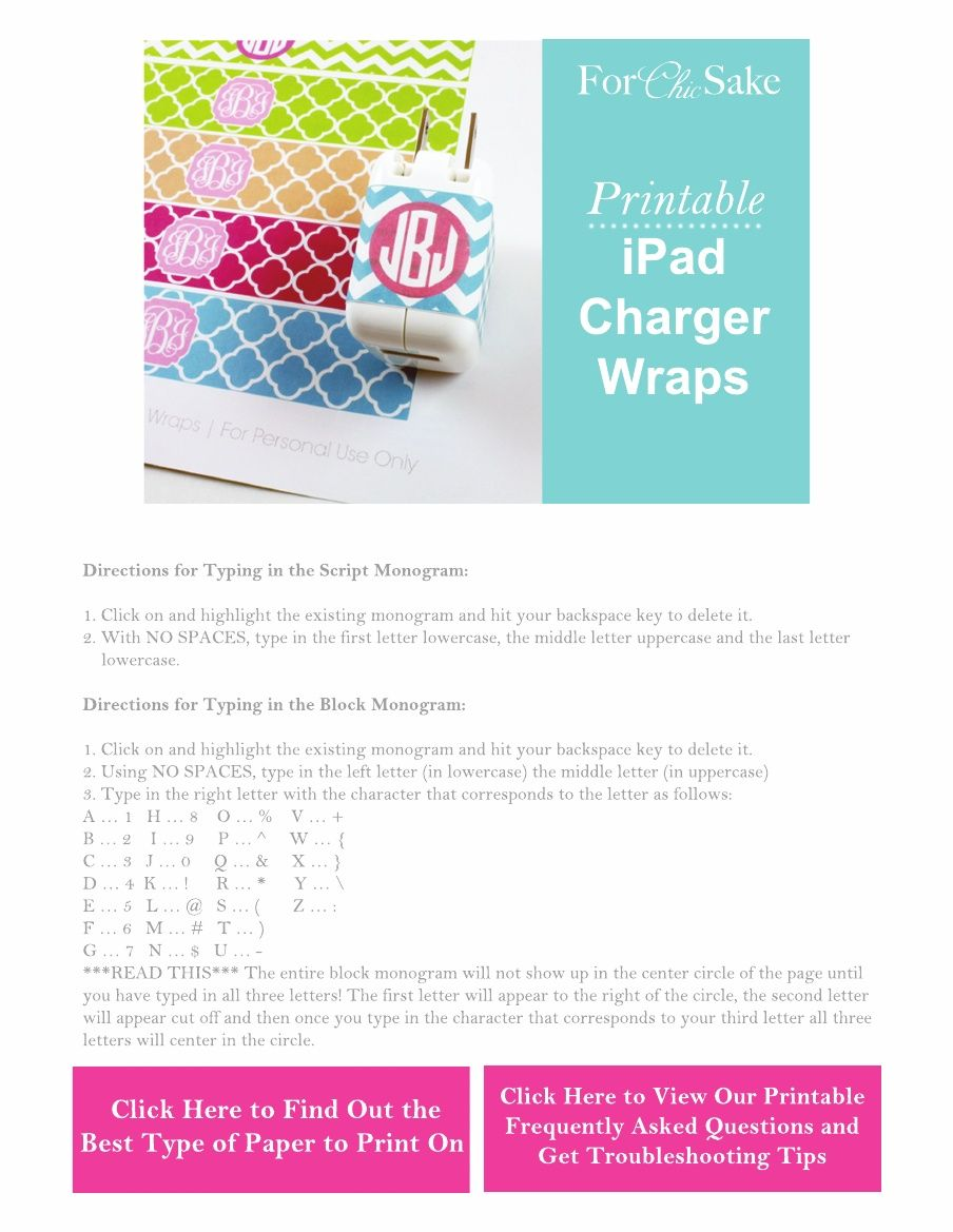 Monogrammed Ipad Charger Wraps  Print These On Our Full Sheet