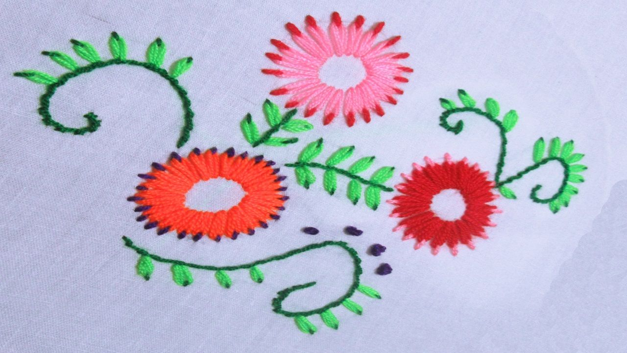 Hand Embroidery Double Color Lazy Daisy Stitch Flower Embroidery