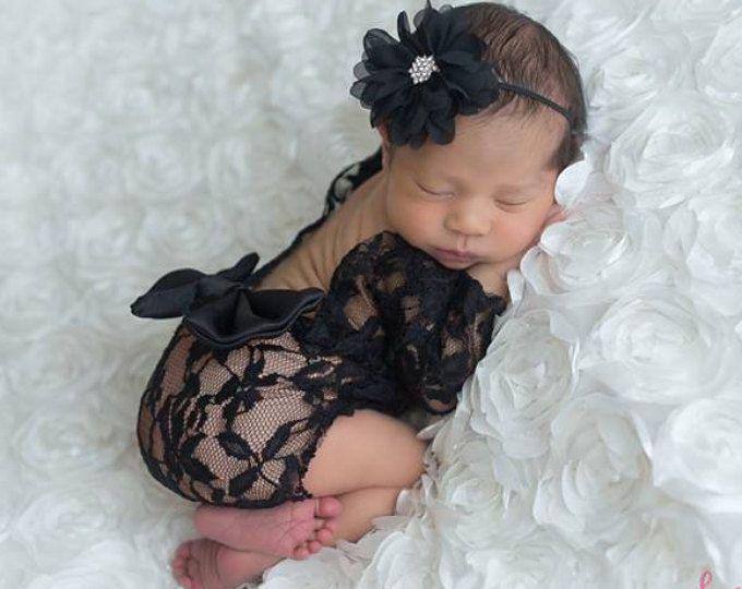 Newborn photo outfit newborn lace romper newborn photo romper newborn photo prop girl