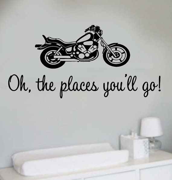 oh the places you will go big motorcycle boy s nursery room vinyl rh pinterest com