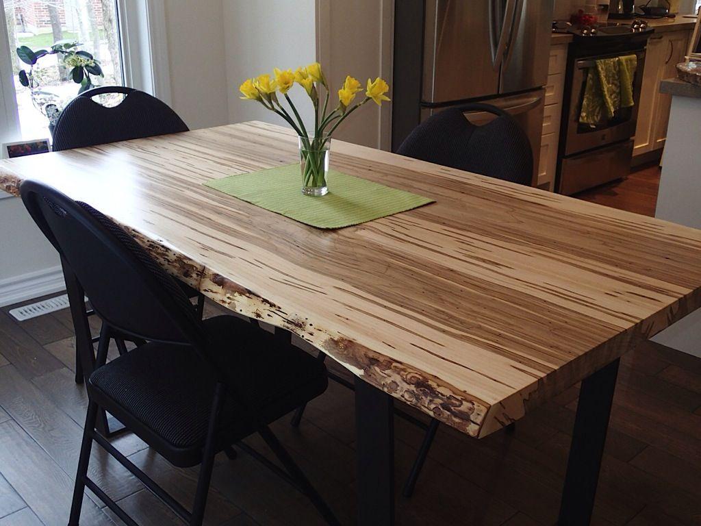 Maple Table Black Steel Legs Wood Slab Dining Table Harvest