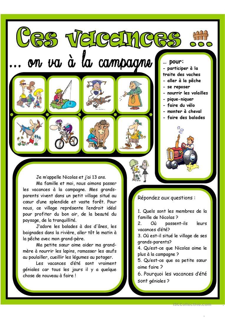 Ces Vacances On Va à La Campagne 2 Educación Francesa