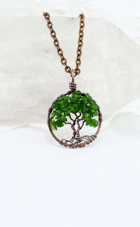 Natual Gemstone Copper Wire Wrap Tree of Life Handmade Pendant For Necklace